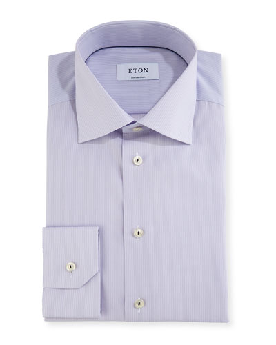 Fine-Stripe Dress Shirt with Piping