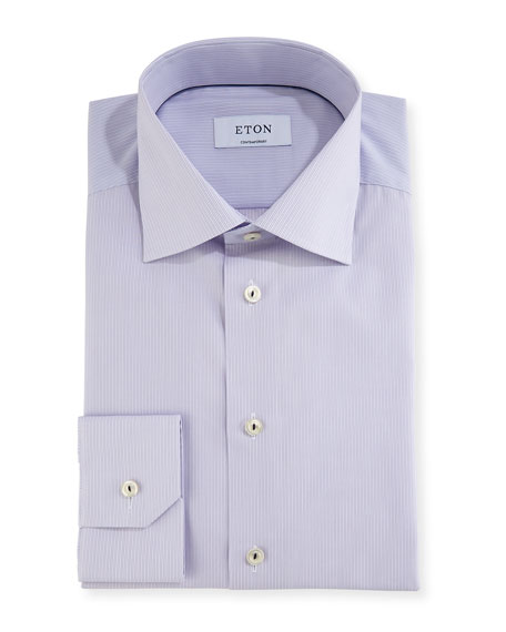 Contemporary-Fit Fine-Stripe Dress Shirt with Piping