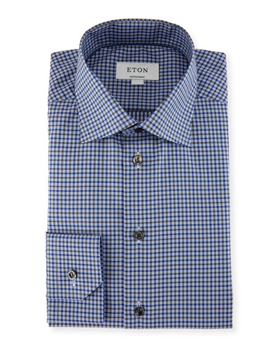 Check Dress Shirt, Blue/Gray
