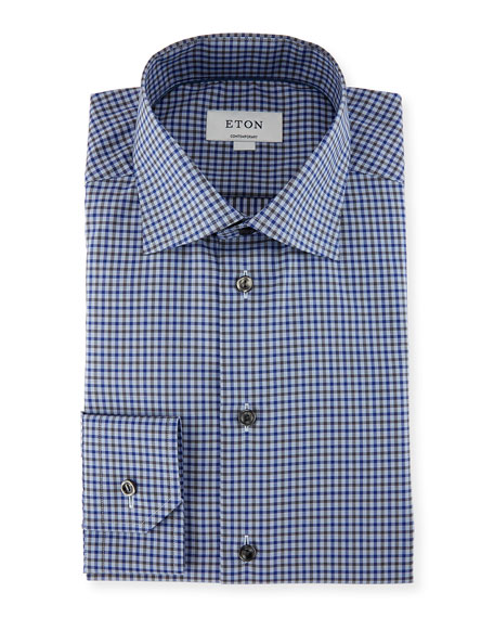 Eton Check Dress Shirt, Blue/Gray