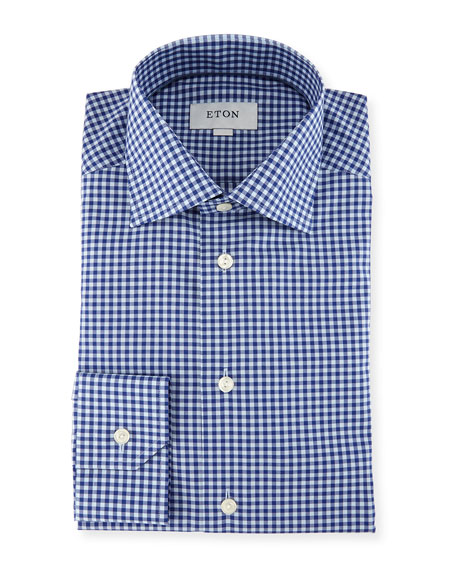 Eton Gingham Cotton Dress Shirt