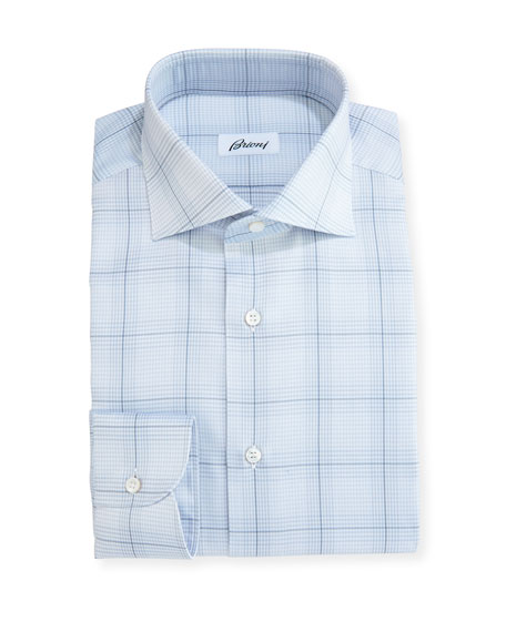 Brioni Plaid Dress Shirt, Light Gray/Blue