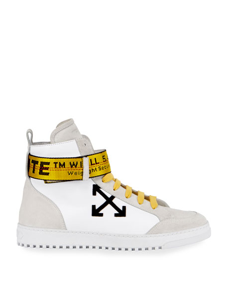 Men's Suede & Leather High-Top Sneakers, White/Black