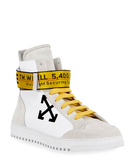 Off-White Men's Suede & Leather High-Top Sneakers, White/Black