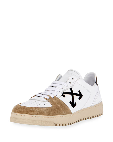 Off-White 70s Leather & Suede Low-Top Sneaker, White/Black