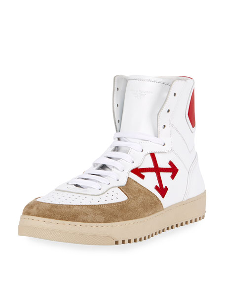 Off-White 70s Leather & Suede High-Top Sneaker, White/Red