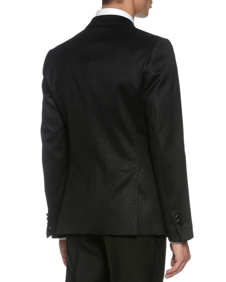London Jacquard Tuxedo Jacket, Black