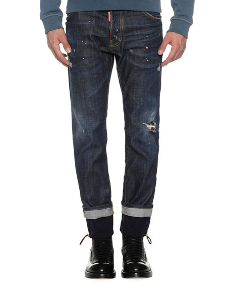Cool Guy Straight Jeans w/Drawstring Cuffs