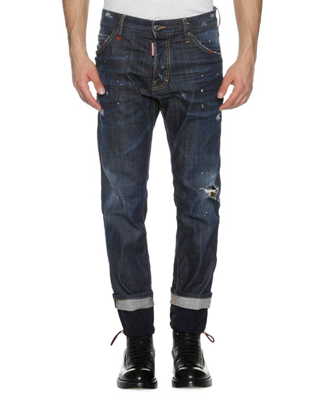 Dsquared2 Cool Guy Straight Jeans w/Drawstring Cuffs