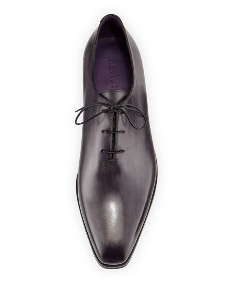 Alessandro Demesure Leather Oxford, Leather Sole, Black