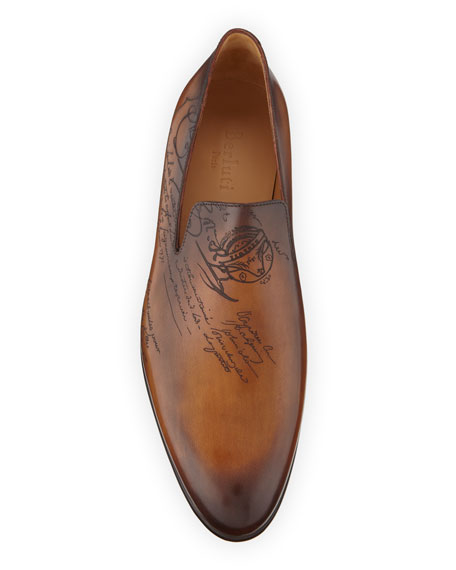 Image 2 of 4: Berluti Scritto Leather Slip-On Dress Shoe