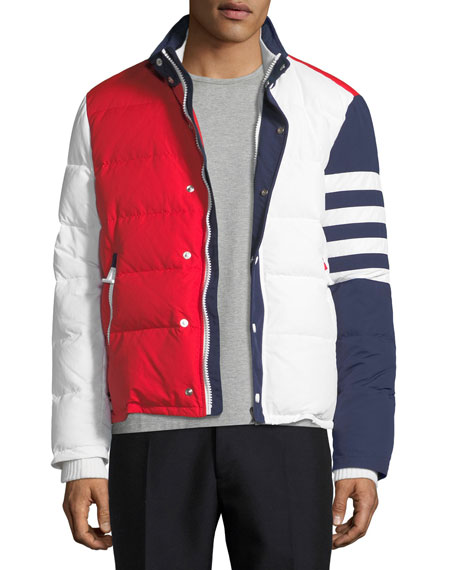 Thom Browne Tricolor Puffer Jacket with 4-Bar Stripes,