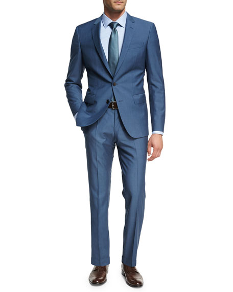 Solid Wool Two-Piece Suit, Light Blue Teal