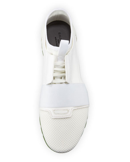 Men's Race Runner Mesh & Leather Sneaker, White