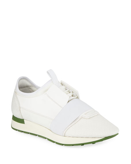 Balenciaga Men's Race Runner Mesh & Leather Sneaker,