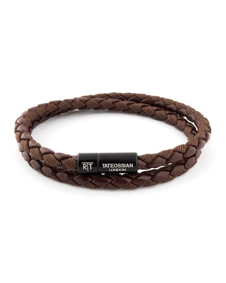 Tateossian Chelsea Double-Wrap Braided Bracelet, Brown