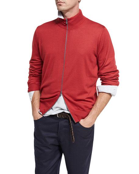 Brunello Cucinelli Wool-Cashmere Full-Zip Cardigan, Ruby