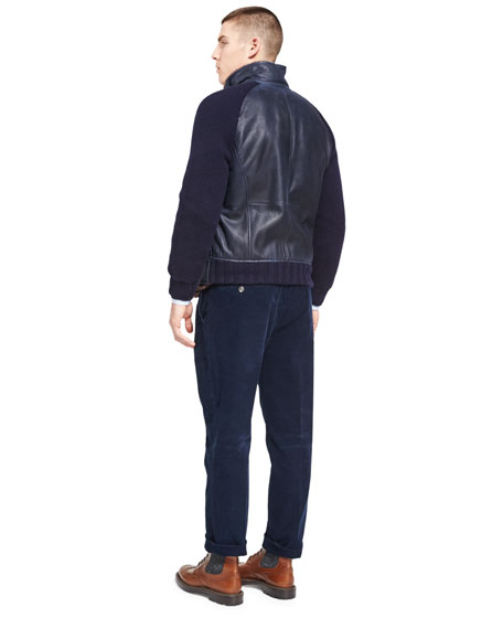 Cashmere-Sleeve Leather Bomber with Shearling Lining
