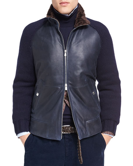 Brunello Cucinelli Cashmere-Sleeve Leather Bomber with Shearling