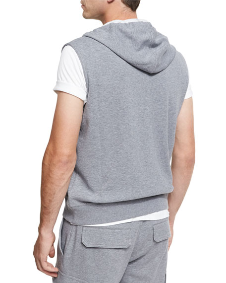 Spa Double-Sided Sleeveless Hoodie, Medium Gray