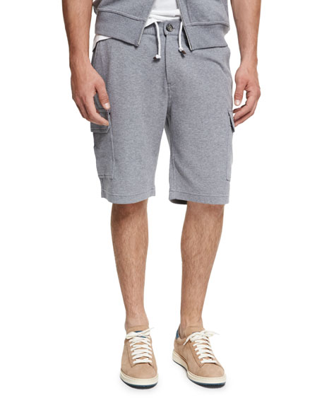 Brunello Cucinelli Spa Cargo Sweat Shorts, Medium Gray