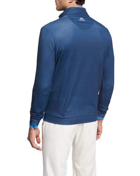 Crown Sport Perth Glen Plaid Quarter-Zip Pullover, Dark Blue
