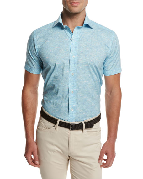 Day Glow Short-Sleeve Sport Shirt, Turquoise