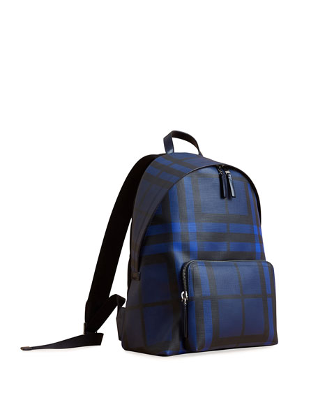 Burberry Abbeydale London Check Backpack, Blue
