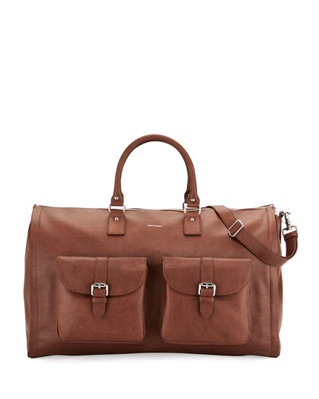 Leather Carry-On Garment Weekender Bag, Brown