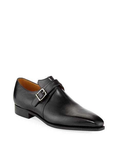 Corthay Arca Calf Leather Monk Shoe, Black