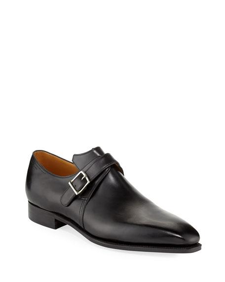 Corthay Arca Calf Leather Monk Shoe, Black
