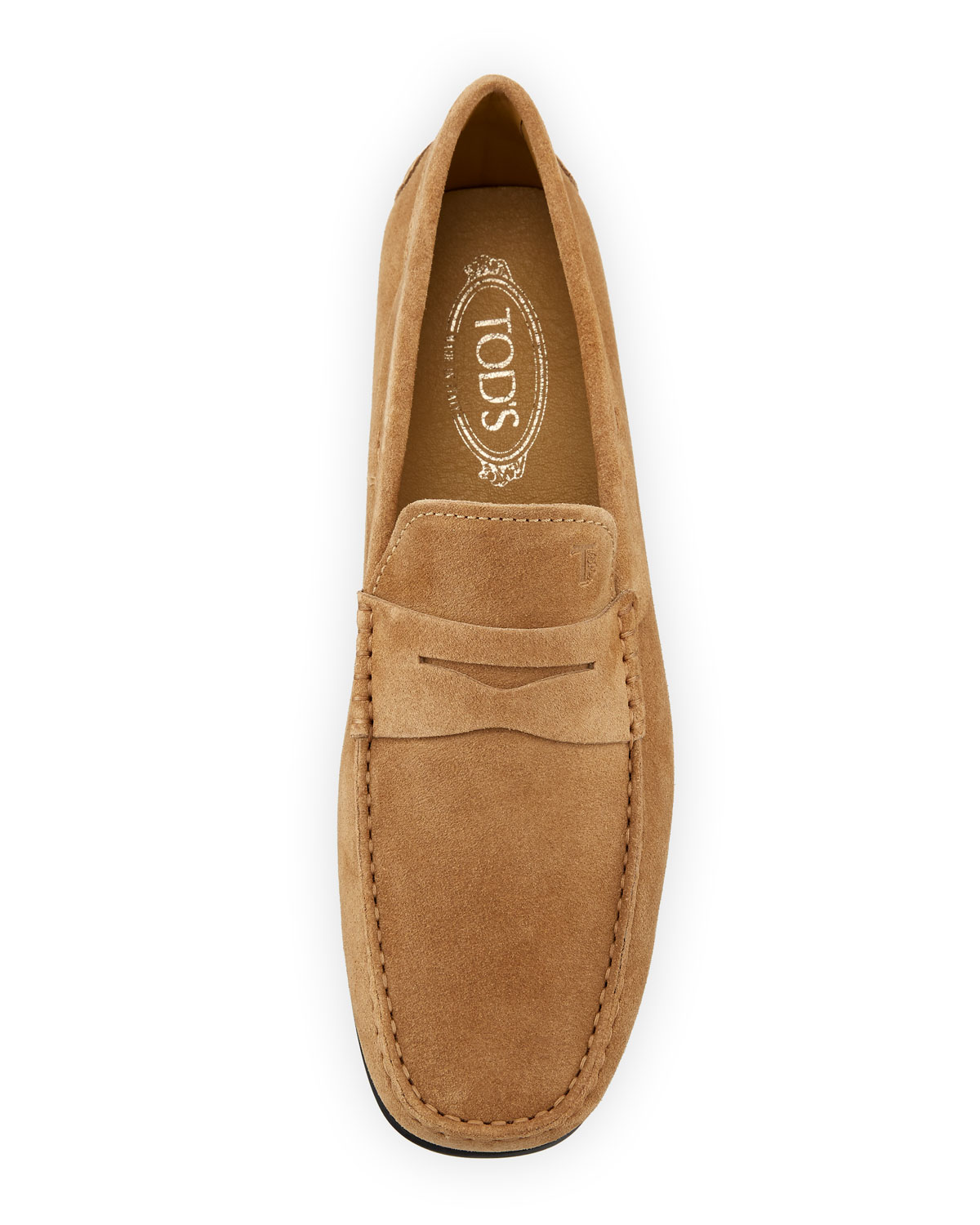 Tods City Gommini Suede Penny Loafer Tan Neiman Marcus D Island Shoes Casual Slip On England Brown