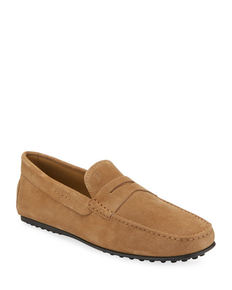 Tod's City Gommini Suede Penny Loafer, Tan