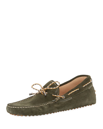 Gommini Suede Driver with Braided Tie  Green