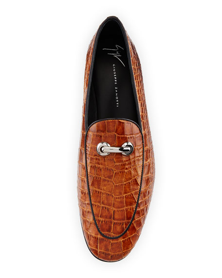 Croc-Embossed Leather Bit Loafer