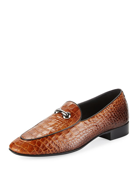 Giuseppe Zanotti Croc-Embossed Leather Bit Loafer