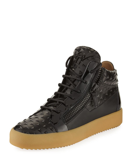 Giuseppe Zanotti Men's Pyramid Leather Mid-Top Sneaker, Black