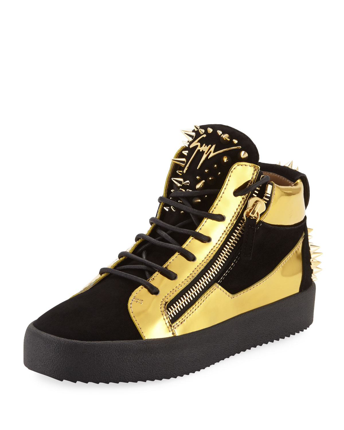 bb175a7573c1 Giuseppe ZanottiMen s Studded Suede   Metallic Leather High-Top Sneakers