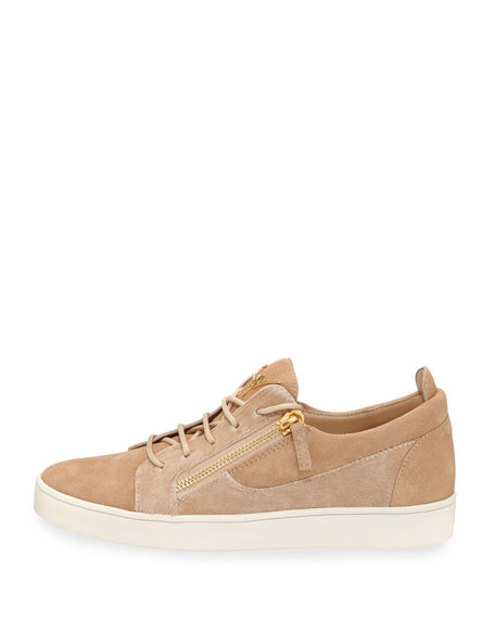 Men's Suede & Calf Hair Double-Zip Low-Top Sneakers