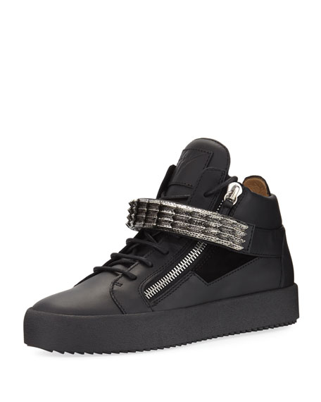 Giuseppe Zanotti Men's Stan Suede & Leather Mid-Top