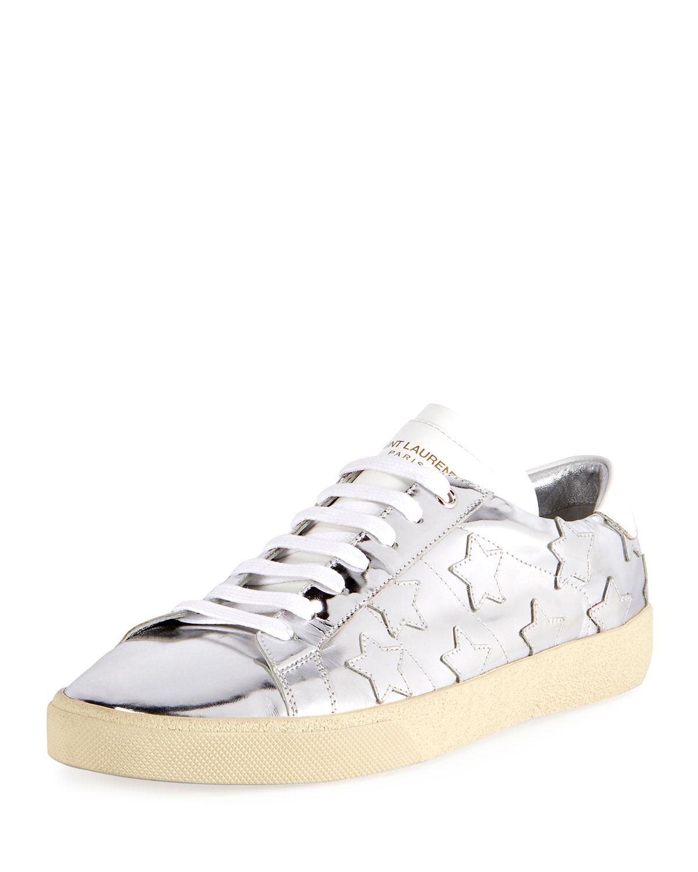 038e2986d72 Saint Laurent Signature Court Classic Men's Metallic Leather Star Sneakers,  Silver