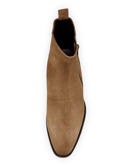 Wyatt 30 Side-Zip Suede Ankle Boot