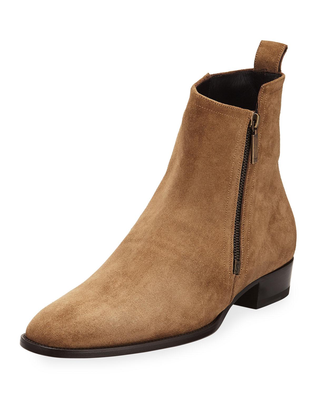 6d452befd7e3 Saint Laurent Wyatt 30 Side-Zip Suede Ankle Boot