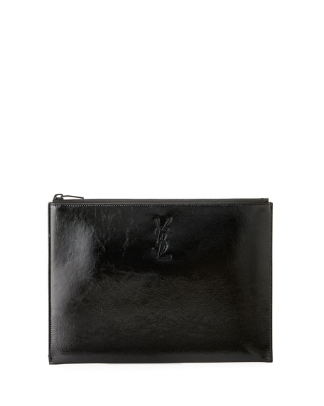 Saint Laurent Monogram Patent Leather Zip-Top Pouch
