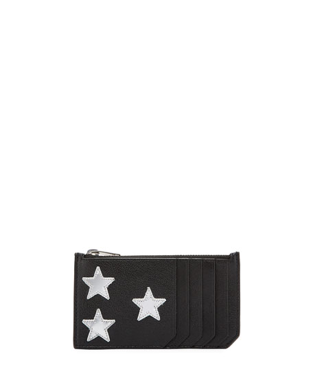 Saint Laurent Fragment Patent Star Leather Zip Card