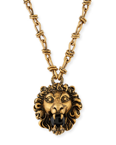 Lion Head Necklace with Simulated Pearl