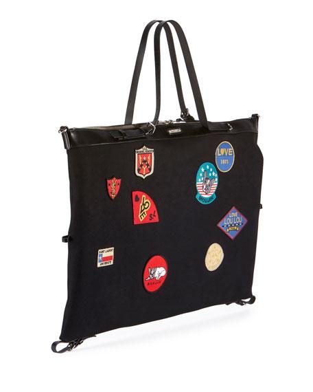 Men's Large Canvas Patch Satchel Bag, Black