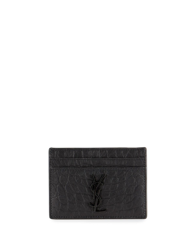 separation shoes 2ec1a 3bf6b YSL Monogram Croc-Embossed Leather Card Case, Black