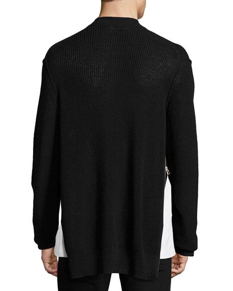 Cotton-Linen Zip-Front Cardigan, Black