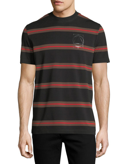 McQ Alexander McQueen Striped Logo T-Shirt, Black/Red/Brown